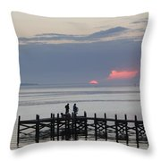 Navarre Beach Sunset Pier 22 Throw Pillow
