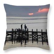 Navarre Beach Sunset Pier 25 Throw Pillow