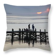 Navarre Beach Sunset Pier 26 Throw Pillow