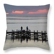 Navarre Beach Sunset Pier 28 Throw Pillow