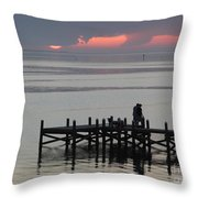 Navarre Beach Sunset Pier 29 Throw Pillow