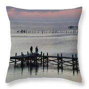 Navarre Beach Sunset Pier 33 Throw Pillow
