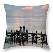 Navarre Beach Sunset Pier 35 Throw Pillow