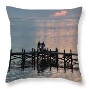 Navarre Beach Sunset Pier 37 Throw Pillow