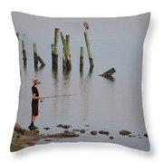 Navarre Beach Sunset Pier 4 Throw Pillow