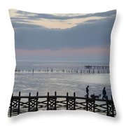 Navarre Beach Sunset Pier 8 Throw Pillow