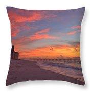 Navarre Pier And Navarre Beach Skyline At Twilight Throw Pillow