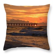 Navarre Pier At Sunrise With Waves Throw Pillow