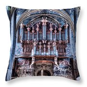 Nave Organ And Paintings Of Saint Cecile Throw Pillow