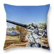Navel Gun Over Looking Uss Batfish Throw Pillow