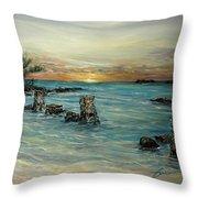 Navy Beach Seaside Sunset Throw Pillow