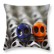 Navy Blue And Orange Throw Pillow