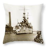 Navy Cruiser Uss New York Going Into Dry Dock San Francisco Circa 1903 Throw Pillow