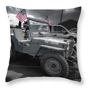Navy Jeep Throw Pillow