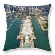 Navy Pier Chicago Aerial Throw Pillow by Adam Romanowicz