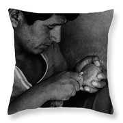 Nazca Stone Cutter Throw Pillow