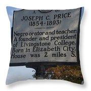 Nc-a61 Joseph C. Price 1854-1893 Throw Pillow