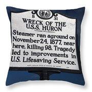 Nc-b31 Wreck Of The U.s.s. Huron Throw Pillow