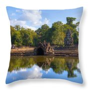 Neak Poan Temple Throw Pillow