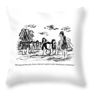 Neanderthal Speaks To An Upright Man As A Group Throw Pillow