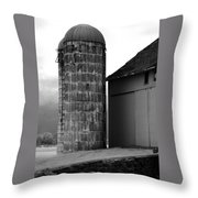 Near Infrared Old Michigan Barn With Silos Bw Usa Throw Pillow