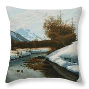 Near La Punt St Morritz In The Engadine Valley Throw Pillow