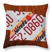 Nebraska License Plate Map Art Throw Pillow