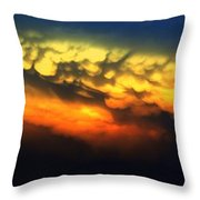 Nebraska Mammatus Sunset Throw Pillow