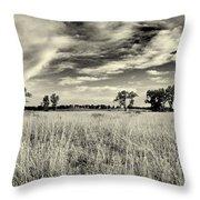 Nebraska Prairie One In Black And White Throw Pillow