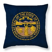 Nebraska State Flag Art On Worn Canvas Throw Pillow