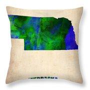 Nebraska Watercolor Map Throw Pillow