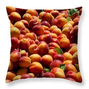 Nectarines For Sale At Weekly Market Throw Pillow