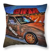 Ned Kelly's Car At Ayers Rock Throw Pillow by Kaye Menner