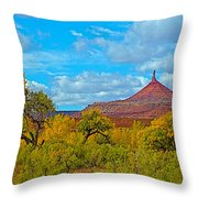 Needle-topped Butte From Highway 211 Going Into Needles District Of Canyonlands National Park-utah  Throw Pillow