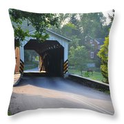 Neff's Mill Covered Bridge Lancaster County Throw Pillow