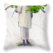 Negro Man Carrying Plantains On Pole Throw Pillow
