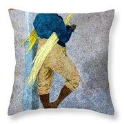 Negro Man Stripping Cane Jamaica Throw Pillow