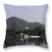 Nehru Garden In The Fateh Sagar Lake In Udaipur Throw Pillow