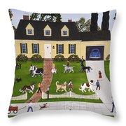 Neighborhood Dog Show Throw Pillow