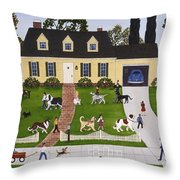 Neighborhood Dog Show Throw Pillow