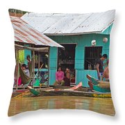 Neighbors On The River Throw Pillow
