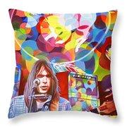 Neil Young-crazy Horse Throw Pillow
