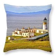 Neist Point Lighthouse Isle Of Skye Throw Pillow