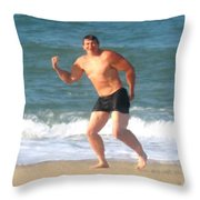 Nels Nilson At The Beach Throw Pillow