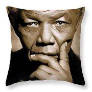 Nelson Mandela Artwork Throw Pillow