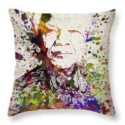 Nelson Mandela In Color Throw Pillow