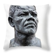 Nelson Mandela Statue Throw Pillow by Jane Rix