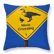 Nene Crossing Sign Haleakala National Park Throw Pillow