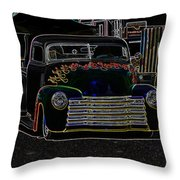 Neon 1948 Chevy Pickup Throw Pillow by Steve McKinzie