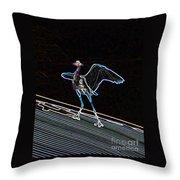 Neon Blue Heron Throw Pillow